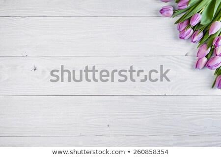Tulipany drewniany stół różowy tekstury charakter przestrzeni Zdjęcia stock © Valeriy