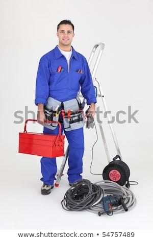 Elektricien kabels toolbox jonge gelukkig Stockfoto © AndreyPopov