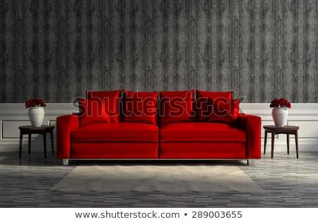 Rood bank mooie blond naakt vrouw Stockfoto © disorderly