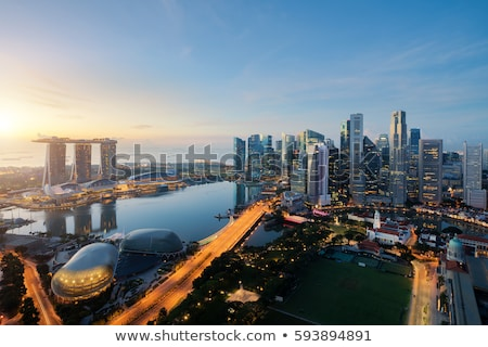 Ufuk çizgisi Singapur finansal merkez gökyüzü su Stok fotoğraf © JanPietruszka