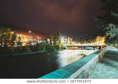 kura river with bridge in borjomi georgia stock photo © taigi