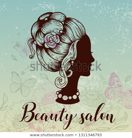 pretty young girl with a pink poppy flower silhouette of the he stock photo © essl