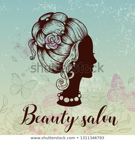 sexy · vetor · mulher · silhueta · mao · perfil - foto stock © essl
