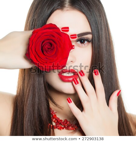 rose in woman hand, red nail polish and lipstick isolated on whi Stock photo © tetkoren