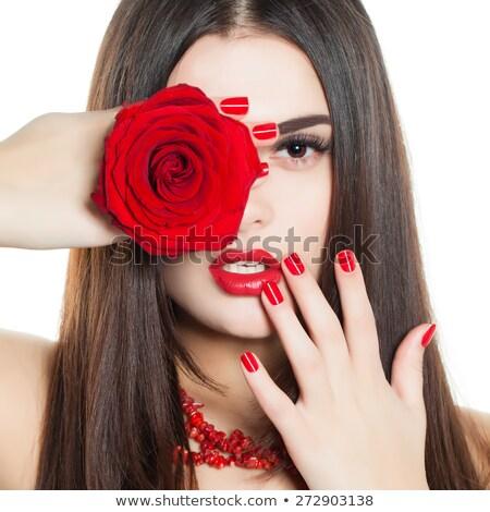 piros · rózsa · nő · kéz · izolált · fehér · lány - stock fotó © tetkoren
