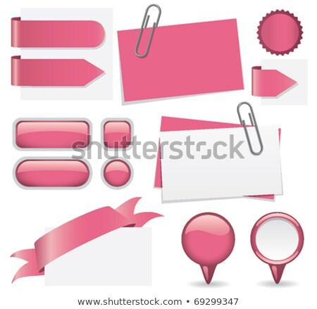 Label · набор · скрепку · бумаги · рваной · бумаги · веб - Сток-фото © rizwanali3d