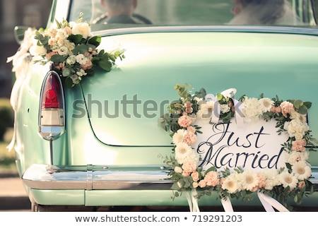 Esküvő autó dekoráció gyönyörű boldog Stock fotó © prg0383