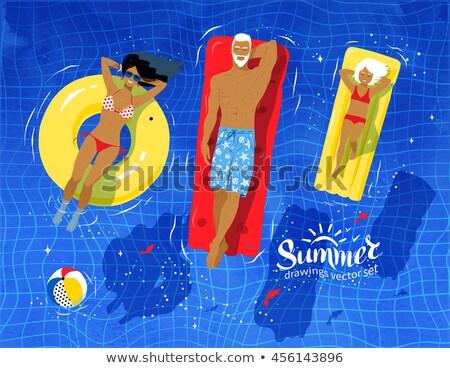Vector of woman sunbathing on pool raft. Stock photo © Morphart