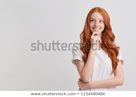 Foto stock: Pensando · mujer · blanco · camisa · feliz · pensativo