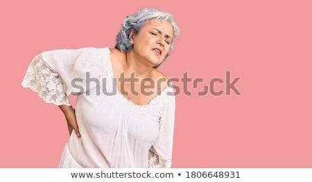 widok · z · tyłu · młoda · kobieta · ból · szyi · biały · strony · sportowe - zdjęcia stock © szefei