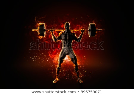 Ferocious flaming bodybuilder with barbell Stock photo © Kirill_M