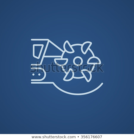 coal machine with rotating cutting drum line icon stock photo © rastudio