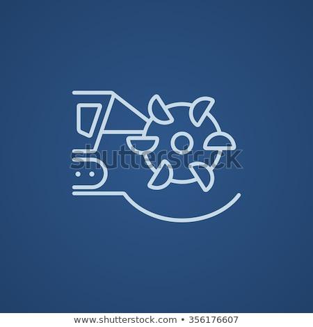 Szén gép vág dob vonal ikon Stock fotó © RAStudio