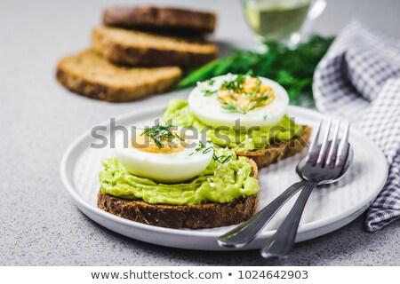 Puha főtt tojás sült kenyér szeletek étel Stock fotó © Digifoodstock