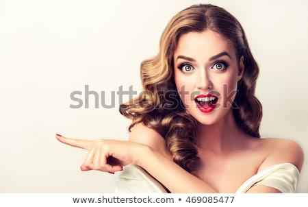 mooie · blond · meisje · rode · lippen · nagels · eten - stockfoto © svetography