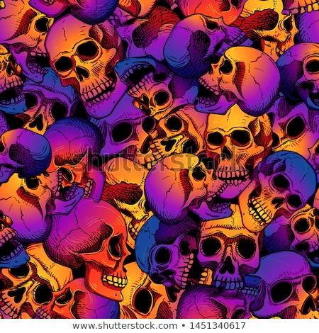 シームレス 頭蓋骨 黒白 抽象的な 背景 にログイン ストックフォト © pakete
