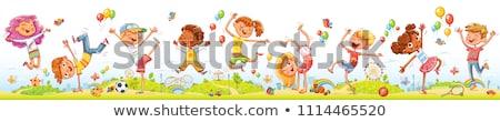 Végtelenített boldog gyerekek illusztráció lány gyerekek Stock fotó © bluering