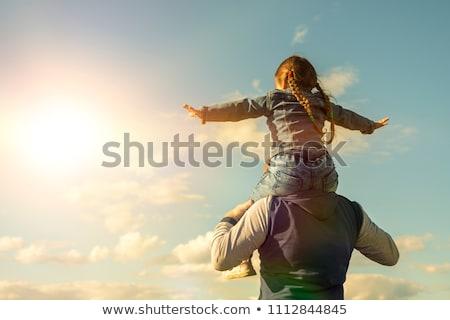 Kinderen spelen zon zomer zonsondergang actief Stockfoto © zurijeta