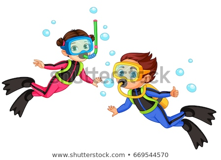 Scuba diver on the beach vector illustration. Stock photo © RAStudio