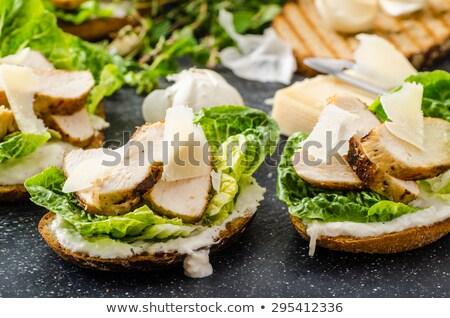 Salata panini tost tavuk ev yapımı sezar Stok fotoğraf © Peteer