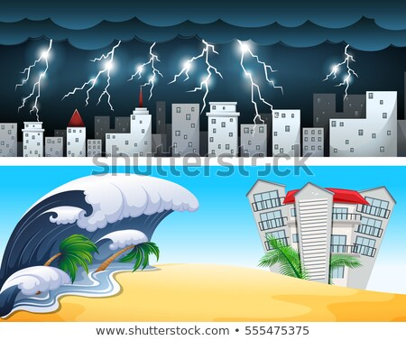 Two disaster scenes with tsunami and thunders Stock photo © bluering