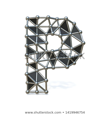 Metal lattice font letter P 3D Stock photo © djmilic