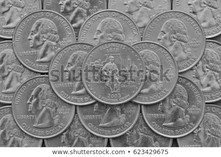 Illinois State and coins of USA. Pile of the US quarter coins with George Washington and on the top  Stock photo © CaptureLight