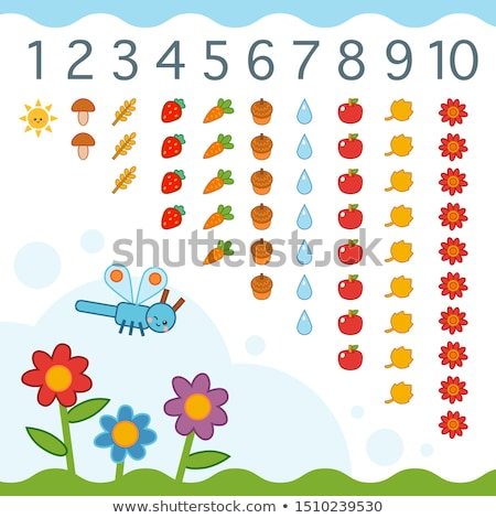 Number one to ten on leaves and flowers Stock photo © bluering