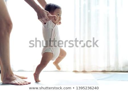 ázsiai baba aranyos lány ül padló Stock fotó © yongtick