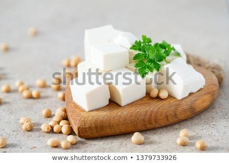 スライス 新鮮な 豆腐 まな板 白 ストックフォト © Digifoodstock
