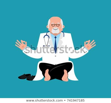 Doctor yoga. yogi Physician relaxation and meditation. Vector il Stock photo © popaukropa