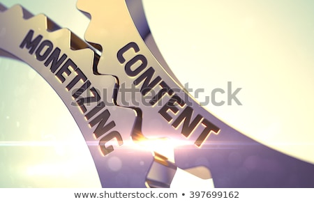 Or métallique Cog engins contenu marketing Photo stock © tashatuvango