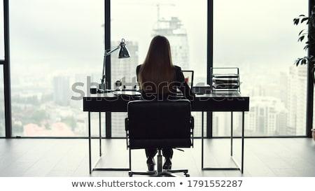 olhando · fora · janela · grande · cidade - foto stock © is2