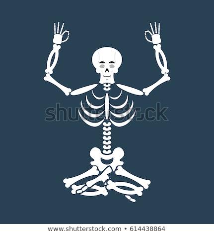 Skeleton yoga. yogi Dead. Zen and relaxation. lotus Pose Stock photo © popaukropa