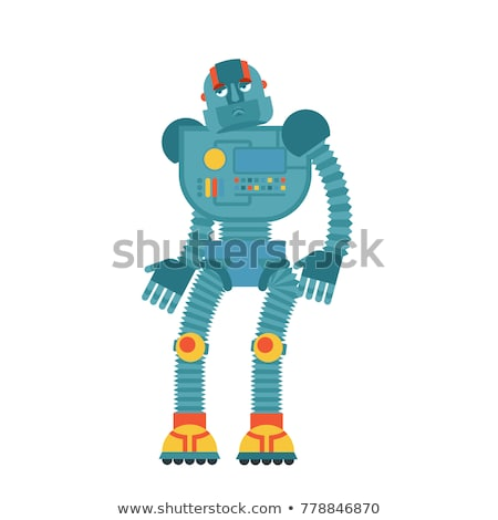 Robot sad. Cyborg sorrowful emotions. Robotic man dull. Vector i Stock photo © popaukropa
