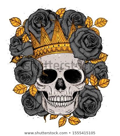 human skull with colorful roses stock photo © kariiika