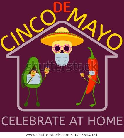 Cinco de Mayo with skull mask Stock photo © bluering