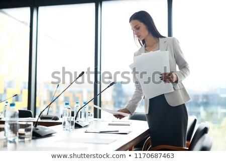 Titkárnő tárgyalóterem üzlet nő papír öltöny Stock fotó © IS2