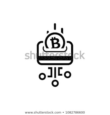 Rakomány kártya bitcoin ikon modern pénzügyi Stock fotó © WaD