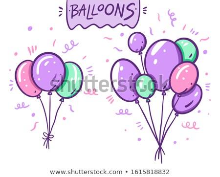 Cartoon lumineuses violette ballon isolé blanche Photo stock © hittoon