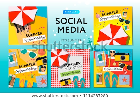 Stock photo: Social media templates Summer Time, use for brands and blogger, modern promotion web banner for soci