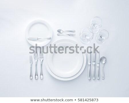 表 集 刀具 插圖 食品 盤 商業照片 © adrenalina