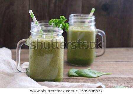 Kettő szemüveg egészséges zöld smoothie menta öreg Stock fotó © Melnyk