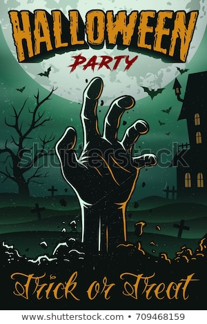 halloween party flyer vector illustration with zombie hand on green moon sky background holiday des stock photo © articular