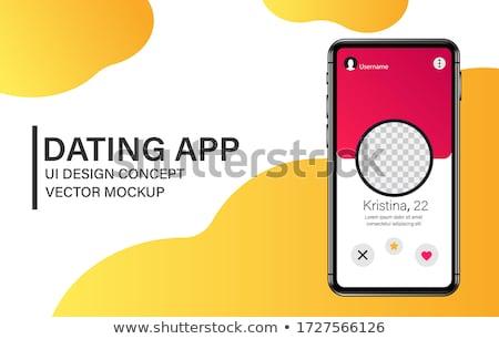 Stock photo: Online dating app - modern vector colorful illustration