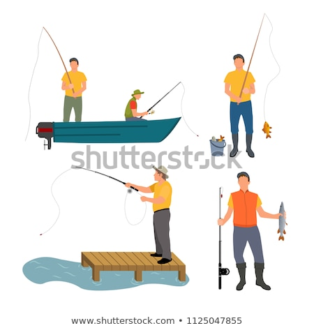 Fishing Process Isolated on White Vector Banner Stock photo © robuart