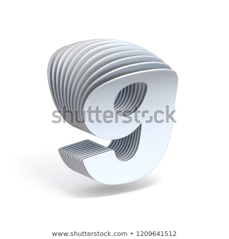 Curved paper sheets Number 9 NINE 3D Stock photo © djmilic