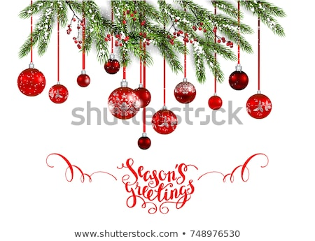 Sample of the Christmas poster with red snowflakes and gold stars, party invitation, wrapping paper  Stock photo © Lady-Luck