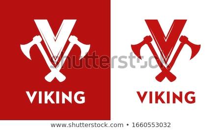Vikingek felirat grafikus pár illusztráció iskola Stock fotó © Krisdog