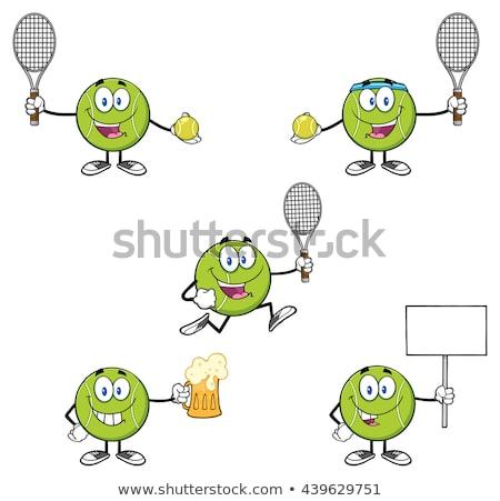 Mosolyog teniszlabda rajzfilmfigura poszter szöveg arc Stock fotó © hittoon